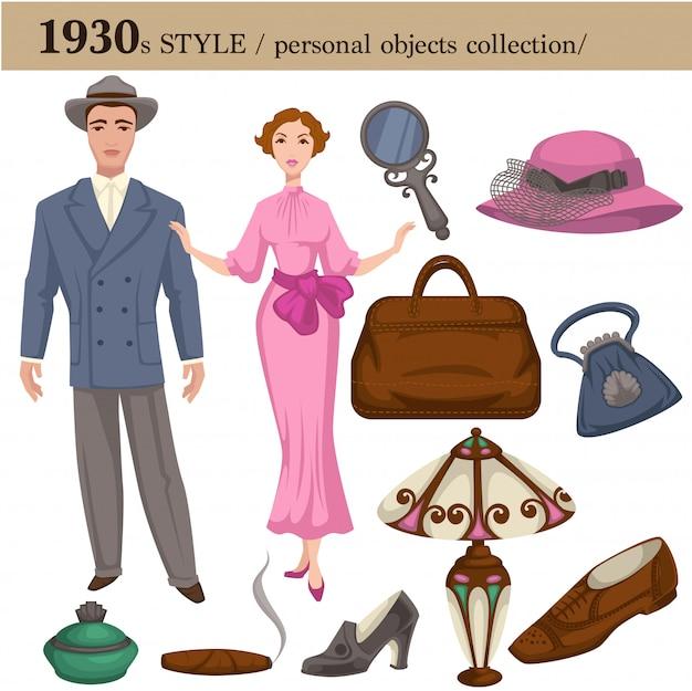1930 estilo de moda hombre y mujer objetos personales