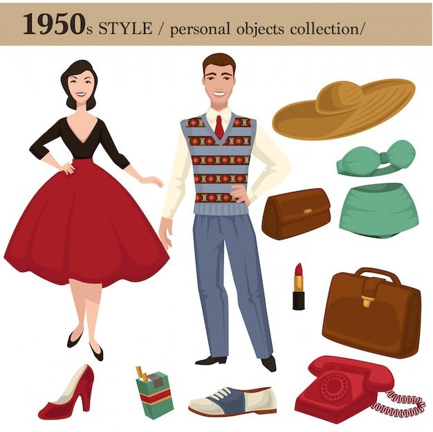 1950 estilo de moda hombre y mujer objetos personales