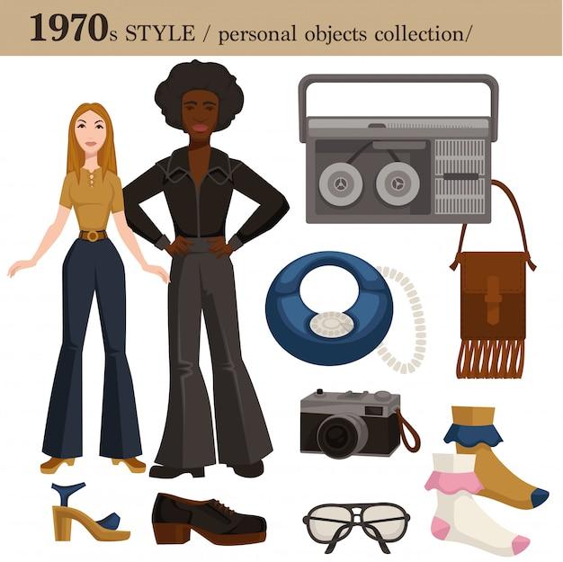 1970 estilo de moda hombre y mujer objetos personales