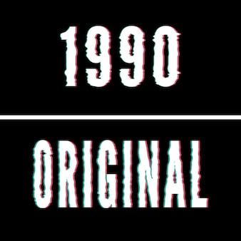 1990 lema original, tipografía holográfica y de fallos, camiseta gráfica, diseño impreso.