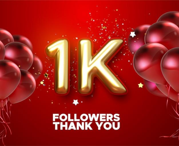 1k, 1000 seguidores gracias con globos dorados y confeti de colores. ilustración 3d para amigos de la red social, seguidores,