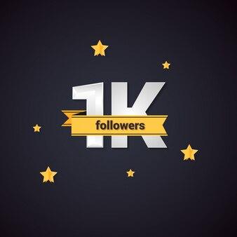 1k gracias follower vector fondo para las redes sociales