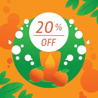 20 por ciento de descuento de fondo con refresco de naranja