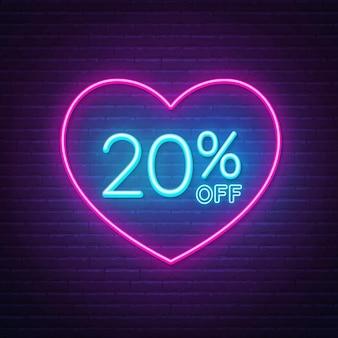 20 por ciento de descuento en letrero de neón en una ilustración de fondo de marco en forma de corazón