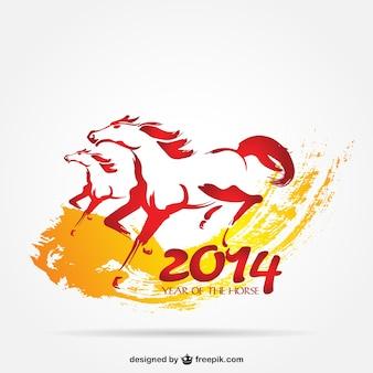 2014 año del caballo en vector con pareja en libertad