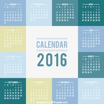 2016 calendario con cuadrados