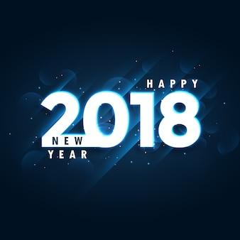 2018 feliz año nuevo fondo azul con efecto brillante