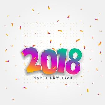 2018, feliz, año nuevo, tarjeta, diseño, con, confeti, celebración