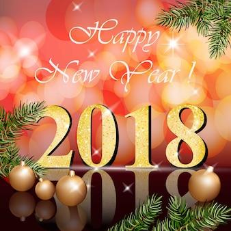 2018, feliz año nuevo, tarjeta, vector, ilustración, rojo, bokeh, fondos