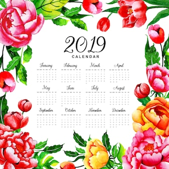2019 acuarela floral calendario anual