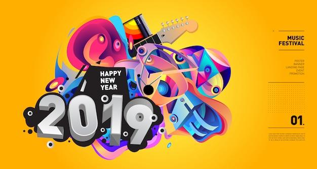 2019 año nuevo ilustración festival de música