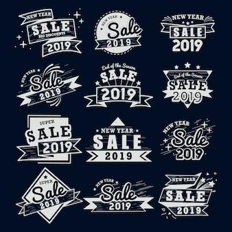 2019 año nuevo venta insignia vector set