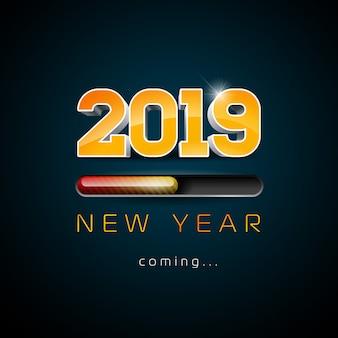 2019 año nuevo viene ilustración