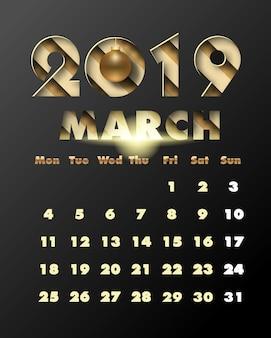 2019 feliz año nuevo con papel dorado, arte y estilo artesanal. calendario para marzo