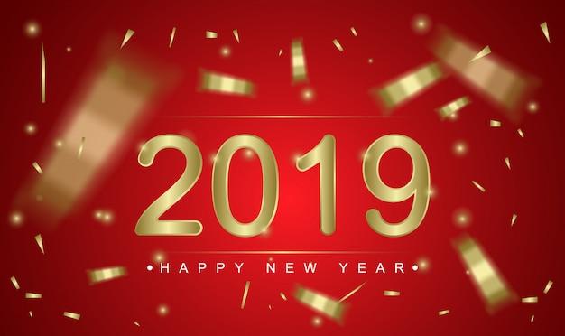 2019 feliz año nuevo plantilla de tarjeta de felicitación