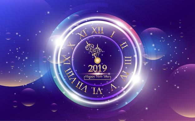 2019 feliz año nuevo con reloj sobre fondo abstracto