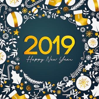 2019 feliz año nuevo texto dorado sobre fondo verde azulado oscuro