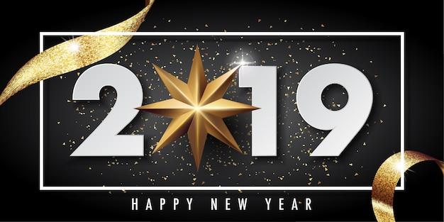 2019 feliz año nuevo vector tarjeta de felicitación