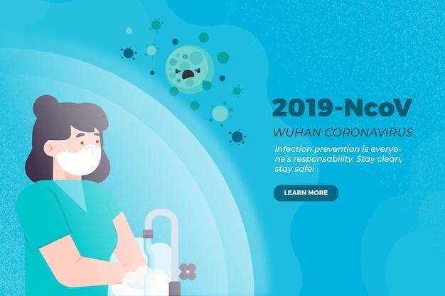2019-ncov concept mujer lavarse las manos