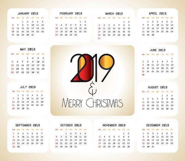 2019 vector de diseño de calendario de navidad