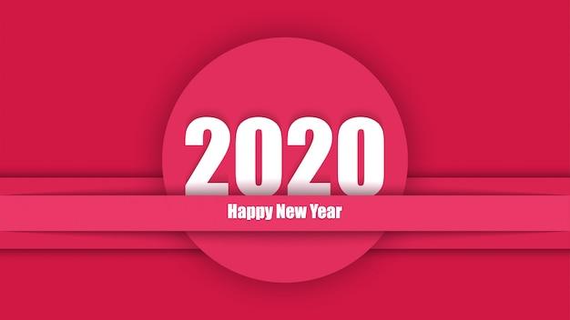 2020 año nuevo elegante rojo moderno tarjeta de corte de papel rojo