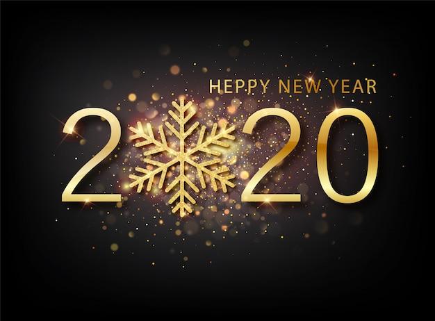 2020 año nuevo fondo. etiqueta de vacaciones con confeti de brillo dorado caído sobre fondo negro.