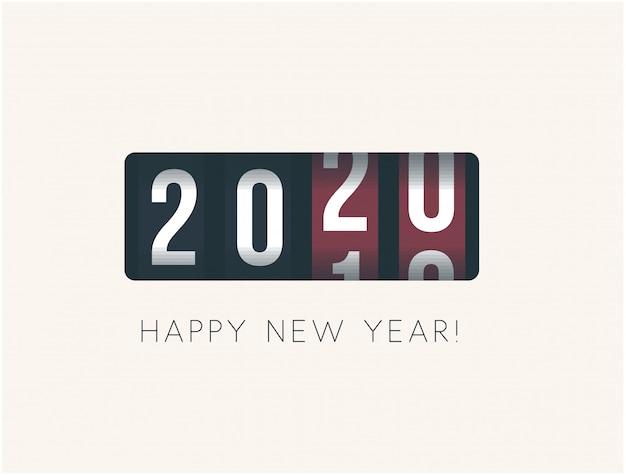 2020 año nuevo. mostrador analógico, diseño de estilo retro. ilustración vectorial