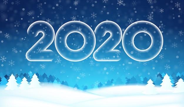 2020 año nuevo número texto banner, bosque de árboles de invierno, cielo azul, copos de nieve, fondo de nieve.
