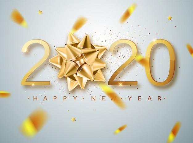 2020 feliz año nuevo con arco de regalo dorado, confeti, números blancos. plantilla de tarjeta de felicitación de vacaciones de invierno. carteles de navidad y año nuevo