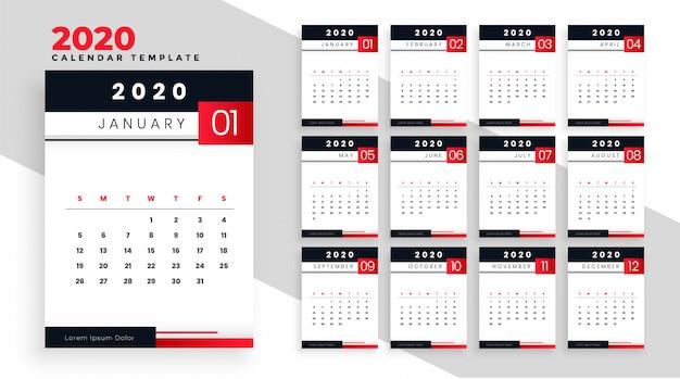 2020 feliz año nuevo calendario plantilla diseño diseño