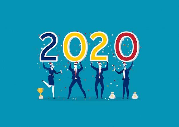 2020 feliz año nuevo con equipo de negocios