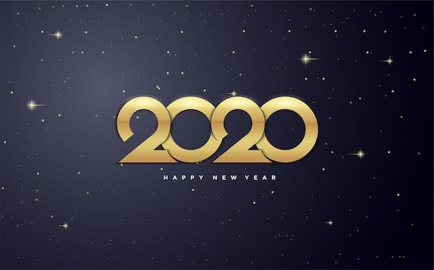 2020 feliz año nuevo con figuras de oro en la galaxia.