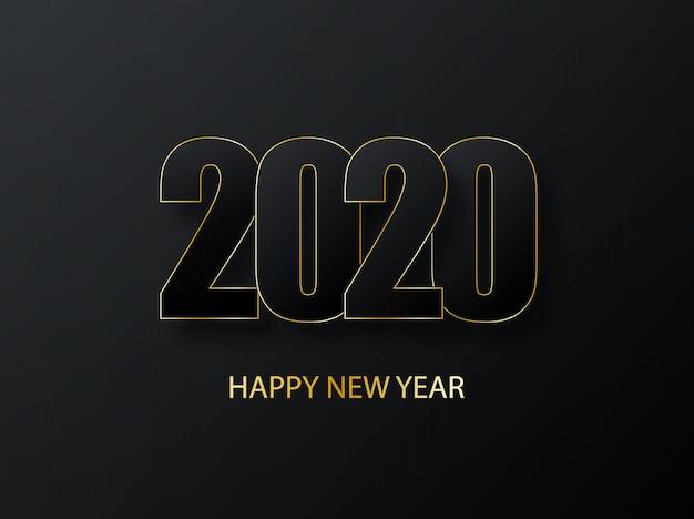 2020 feliz año nuevo fondo. lujo oscuro con saludo dorado. portada del diario de negocios para 2020 con deseos. saludos e invitaciones, felicitaciones navideñas y tarjetas.