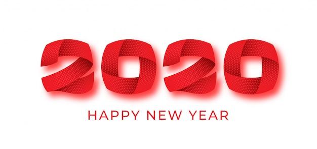 2020 feliz año nuevo número rojo texto banner, números abstractos 3d, diseño de tarjeta de vacaciones de invierno.