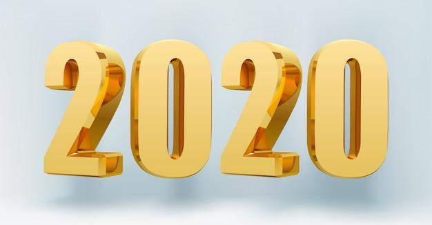 2020 feliz año nuevo números 3d.