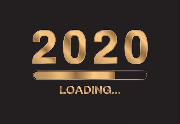 2020 feliz año nuevo sobre fondo negro