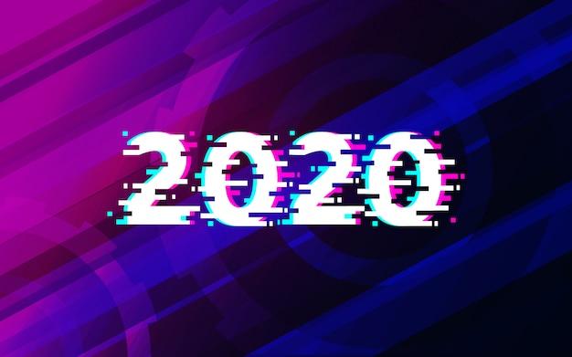 2020 glitch texto sobre diseño de fondo futurista de tecnología abstracta.