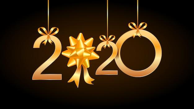 2020 tarjeta de la vendimia de la feliz año nuevo con números de oro colgantes y el arco del regalo de la cinta.