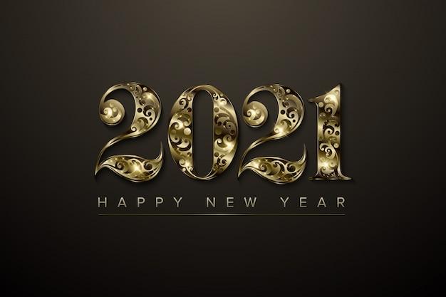 2021 año nuevo número de lujo