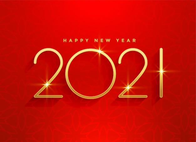 2021 dorado feliz año nuevo diseño de fondo rojo
