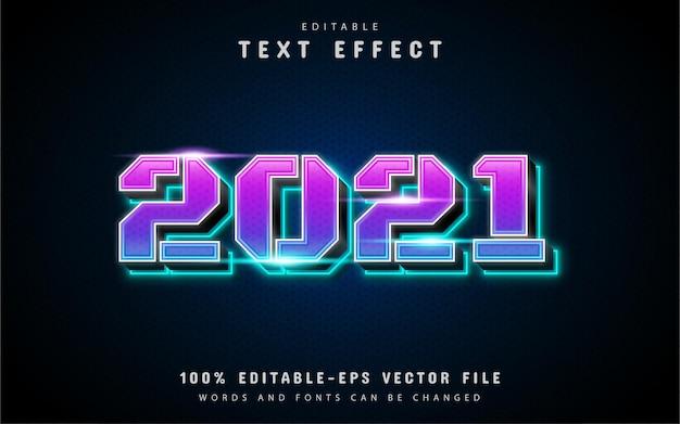 2021 efecto de texto degradado azul púrpura