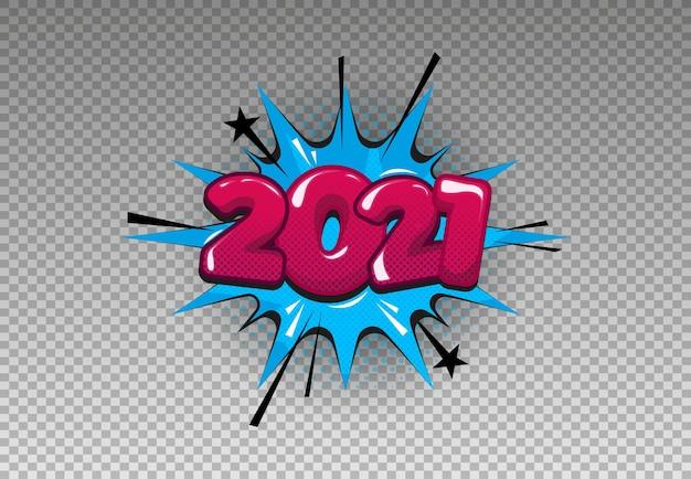 2021 en estilo cómic sobre fondo aislado.