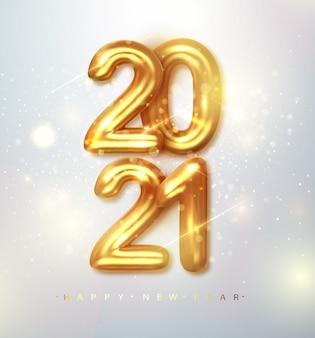 2021 feliz año nuevo. banner de feliz año nuevo con números metálicos dorados fecha 2021