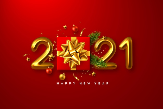 2021 feliz año nuevo. caja de regalo realista con elementos decorativos y números metálicos 3d sobre fondo rojo.