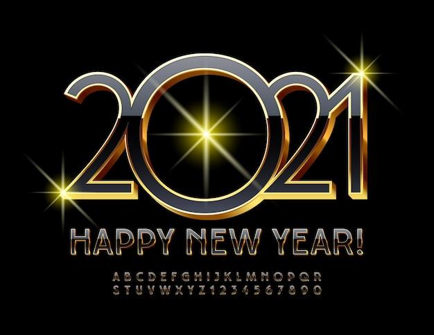 2021 feliz año nuevo. elegante fuente 3d en negro y dorado. letras y números del alfabeto premium de lujo