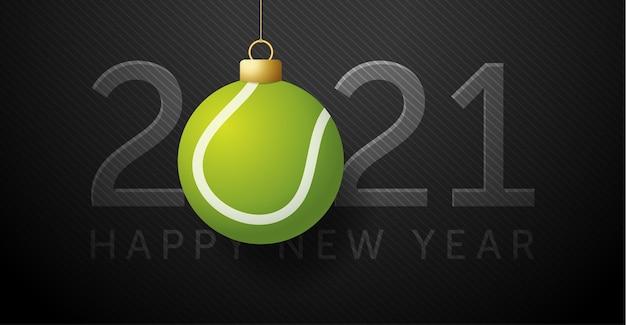 2021 feliz año nuevo. fondo con una pelota de tenis.