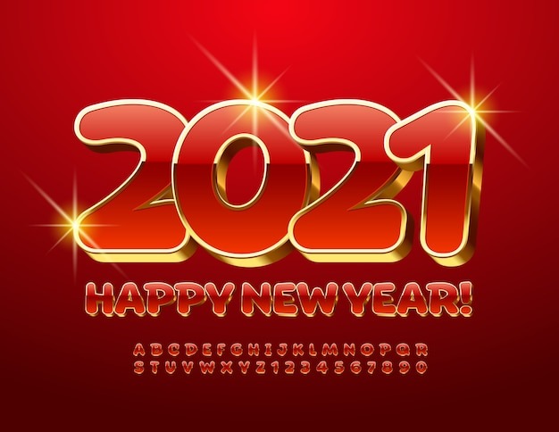 2021 feliz año nuevo. fuente 3d en mayúsculas. números y letras del alfabeto rojo y dorado de lujo.