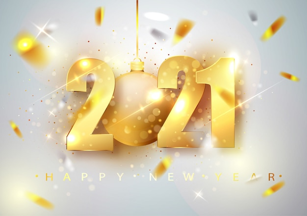 2021 feliz año nuevo. ilustración de vector de vacaciones números de oro diseño de tarjeta de felicitación de falling shiny confetti.