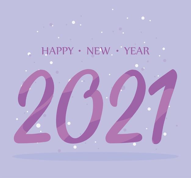2021 feliz año nuevo, número morado y tarjeta de puntos ilustración