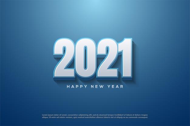2021 feliz año nuevo con números blancos 3d sobre fondo azul